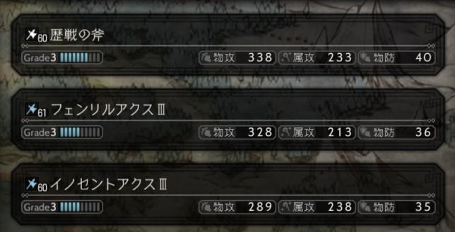 強化斧の数値